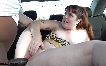 Ginger Barbary Gets Creampied In Backseat Of Jalopy