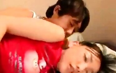 Cute and Busty Asian Gets Her Boobs Licked and Fondled