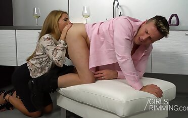 Horny wife Sofi Goldfinger gives a rimjob plus rides cock anally
