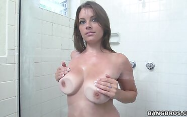 Nude the man wife takes her dose of BBC up a kinky shower play
