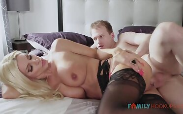 Sizzling blnde COUGAR is debilitating softcore, dark-hued stocking while having fuck-a-thon respecting her spouse's mate