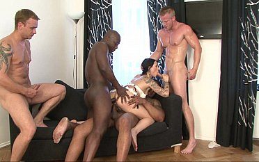 Insane interracial orgy with a brunette
