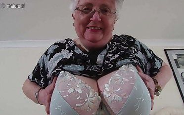 Big breasted British granny playing with herself
