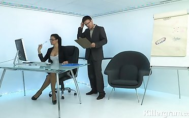 Hot sexy Milf plays the office slut addicted to cock