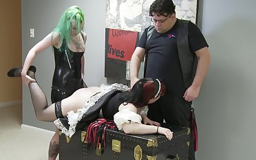 BDSM action with maid getting spanked for all she's worth