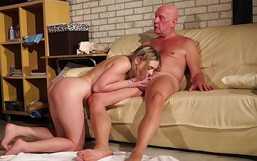 Old man fucks his niece and cums in her mouth