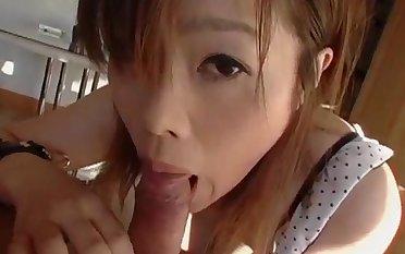Japanese slut filmed when sucking the dick like candy
