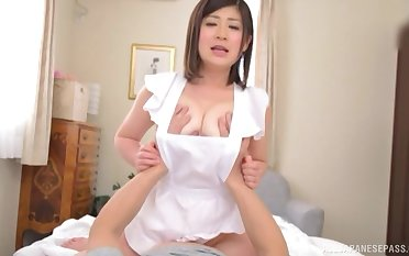 Japanese busty housewife Misato Shiori gives a sloppy blowjob