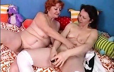 Full-grown redhead milf in erotic lesbian and masturbation prop