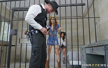 Lesbian prison pussy licking in the matter of Lela Star and Molly Stewart