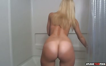 Soapy Shower Masturbation Session With A Cute Blonde Added to Her Toys