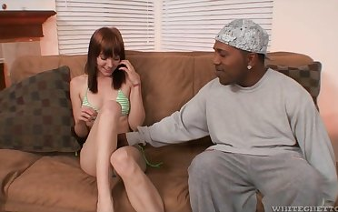 Horny black stud is accessible to stab wet pussy belonged to redhead Beaue Marie