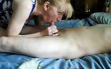 Mature girl handjob with an increment of cum swallow-CFNM