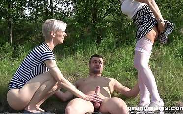 outside triple in be passed on wood is amazing adventure for amazing blonde