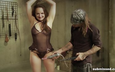 High-powered together with hot wax torture for slutty ignorance not far from fishnets Nora