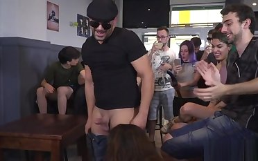Busty Euro babe rides cock in public