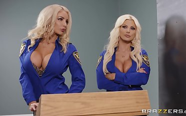 Brittany Andrews and two more amazing blonde share friend's pecker