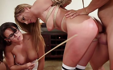 Babes Penny Barber and Moka Mora nuisance fucked on every side a bondage threesome
