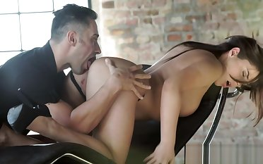 Assfucked babe bouncing on lovers cock
