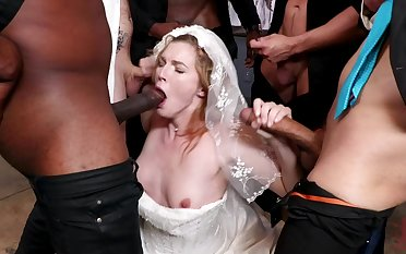 A wedding day turns tohardcore gangbang be incumbent on hot bride Ella Nova