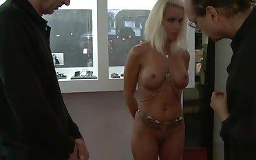 Busty tied blonde fucked yon public
