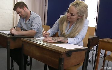 Louise Lee enjoys a threesome in the office with horny friends