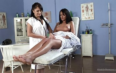 Pretty and marketable Lea Lexis gets her cunt pleased by a lesbian doctor