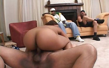 Ebony pet Winter fucking with her fat neighbor with a laconic dick