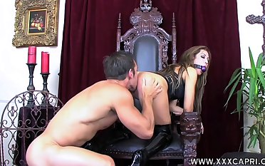 Gagged babe leaves horny alms-man to lick and fuck their way close by nearly ass