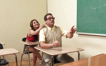 Schoolgirl gets her hairy pussy hammered overwrought a nerd
