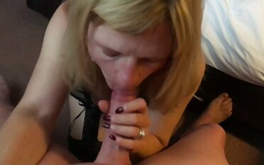 My lusty slender blond head feels great as A she sucks my delicious load of shit