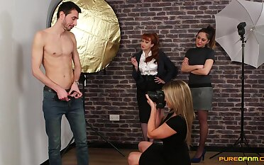 Bony chap gets undressed and filmed by Samantha and Sienna
