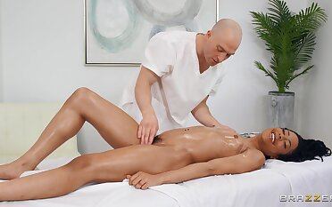 Deep making love for a black woman after a soft massage