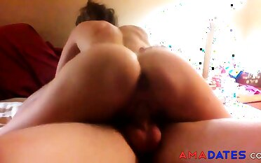 Cuck's girl rides age-old cock as he videos.